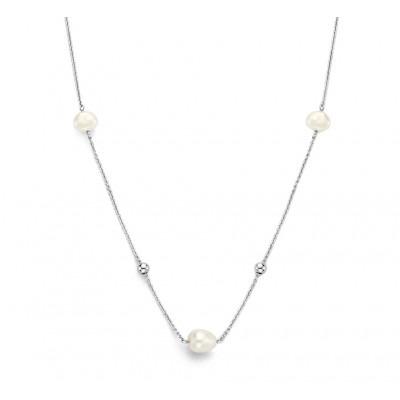 Zilveren ketting met parels 42 45 cm
