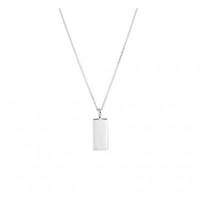 Zilveren ketting met rechthoek
