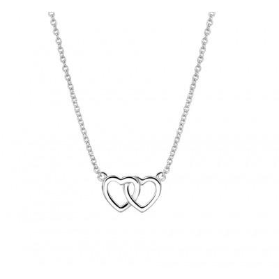 Zilveren ketting met twee hartjes