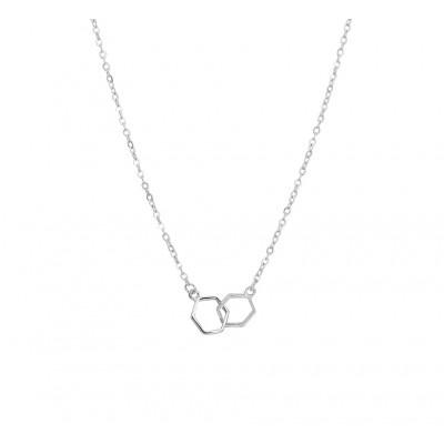 Zilveren ketting met twee zeshoeken