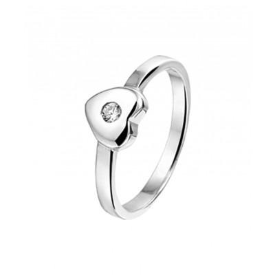 Zilveren kinder ring met zirkonia en liefdethema
