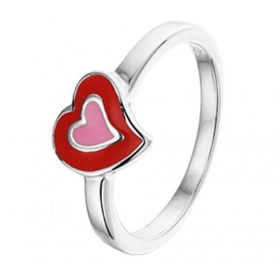 Zilveren kinderring met rode steen en liefdethema