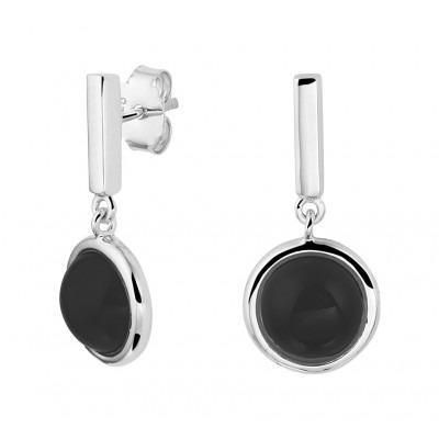 Zilveren onyx oorhangers