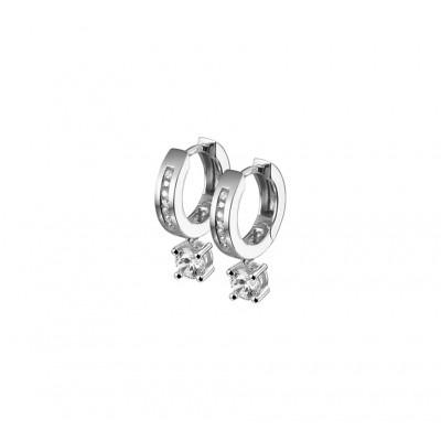 Zilveren oorbellen met hanger zirkonias
