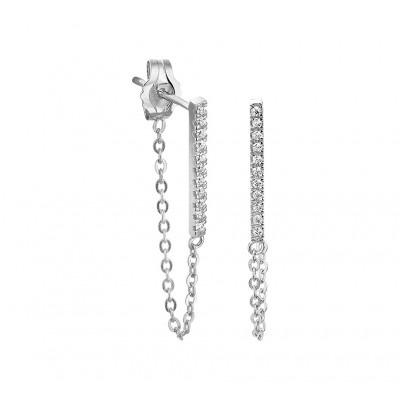 Zilveren oorbellen staafjes zirkonia