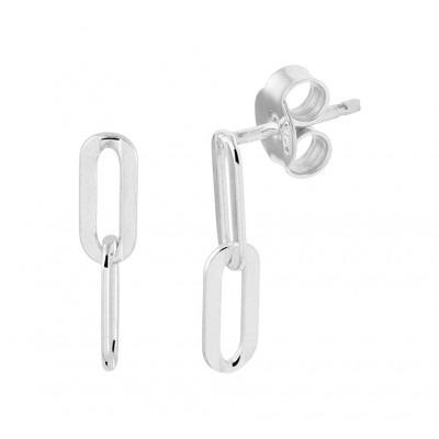 Zilveren oorhangers in schakelvorm