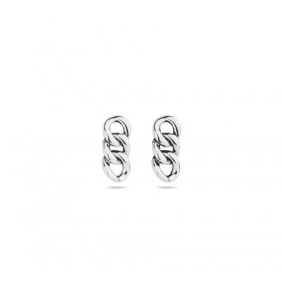 Zilveren oorhangers met schakelmotief