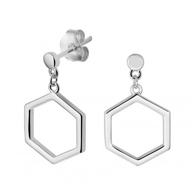Zilveren oorhangers zeshoek