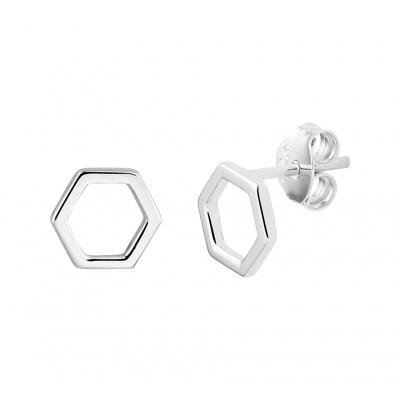 Zilveren oorknopjes zeshoek