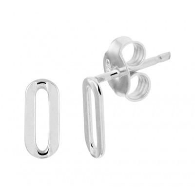 Zilveren oorknoppen in schakelvorm