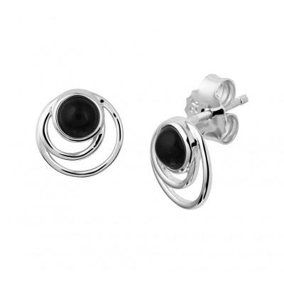 Zilveren oorknoppen met onyx