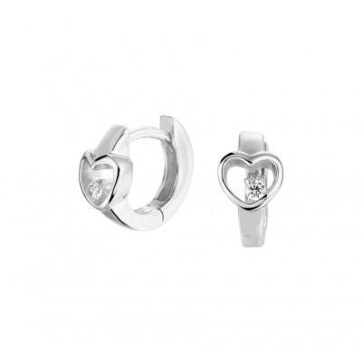 Zilveren oorringen met hartjes en zirkonias