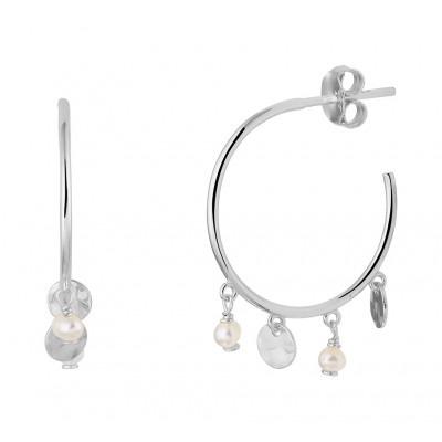 Zilveren oorringen met parels en rondjes