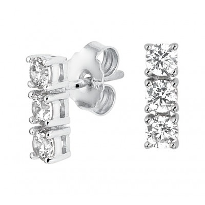 Zilveren oorsteker staafjes met zirkonia stenen