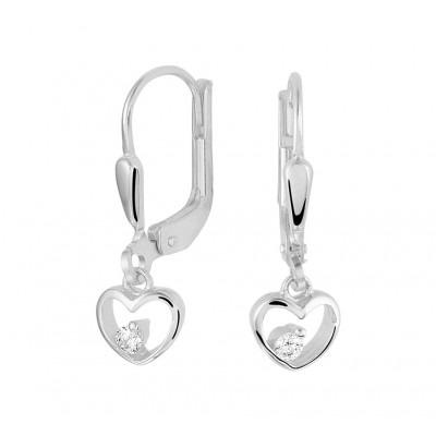 Zilveren open hartjes oorhangers zirkonia 20 mm