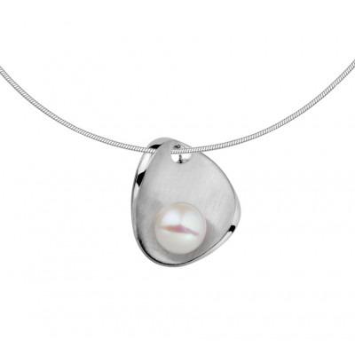 Zilveren parel ketting met schelpvorm