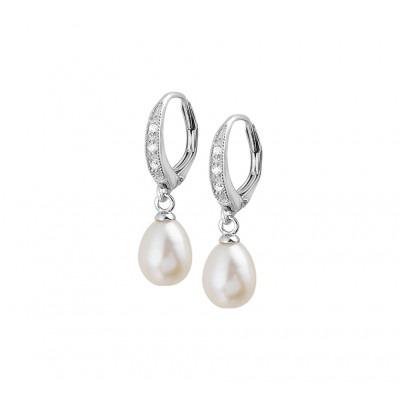 Zilveren parel oorhangers met zirkonia