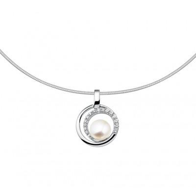 Zilveren parelketting ronde hanger met zirkonia
