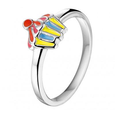 Zilveren ring met diverse kleuren en cijferthema