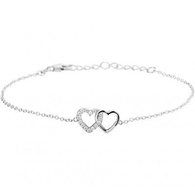 Zirkonia hartje en zilveren hartje armband 19 cm
