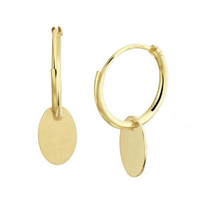 Gouden oorringen met ovale hanger