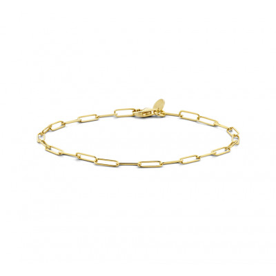 Gold plated armband paperclip schakel 3 mm