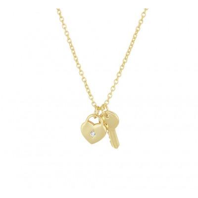 Gold plated ketting met hartje en sleutel