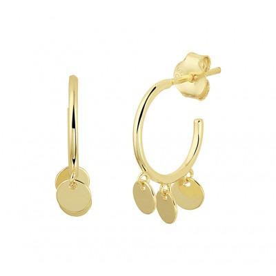Gold plated oorbellen met drie ronde hangertjes