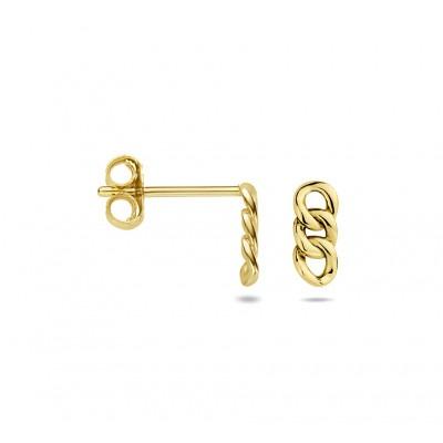 Gold plated oorhangers met schakelmotief
