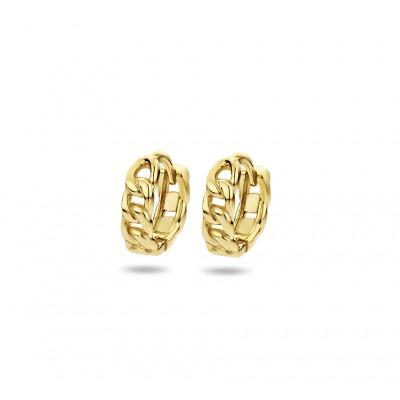 Gold plated oorringen met schakelmotief