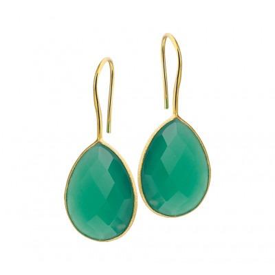 Luxe oorhangers goudkleurig en groen met agaat 16 mm
