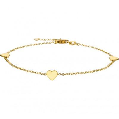 Armband goud drie hartjes