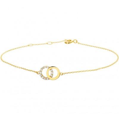 Armband goud met twee rondjes