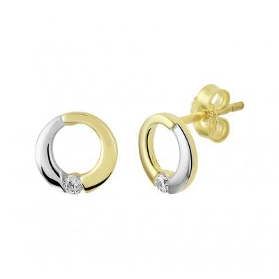 Bicolor gouden oorknopjes met zirkonia