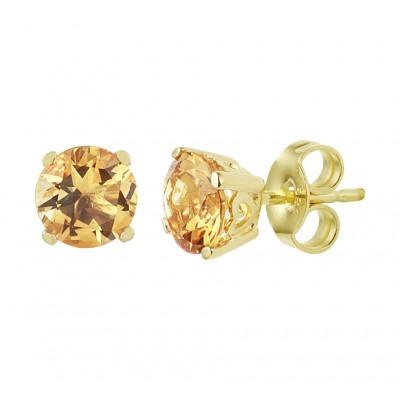 Citrien oorknopjes goud