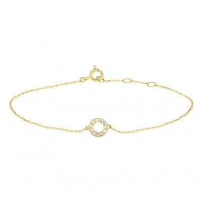 Dun gouden armbandje met zirkonia rondje