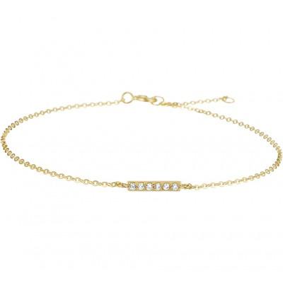 Dun gouden armbandje zirkonia balkje