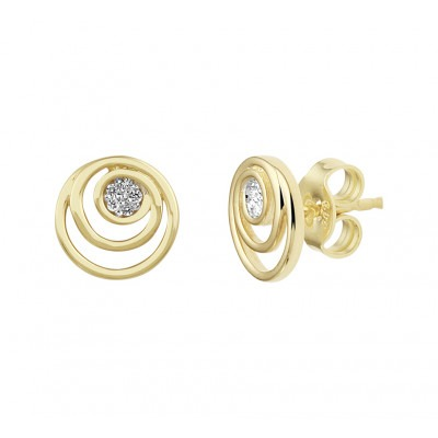 Edelsteen oorbellen met diamant goud