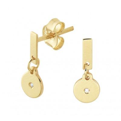 Edelsteen oorbellen met diamant in het goud 13 mm