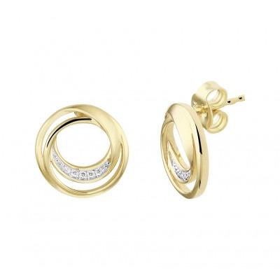 Edelsteen oorknopjes met diamant in het goud