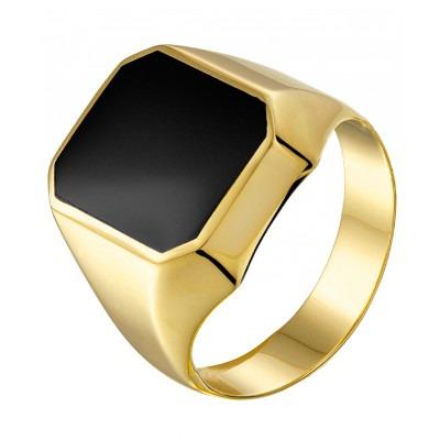Elegante 14-karaats gouden zegelring met onyxsteen