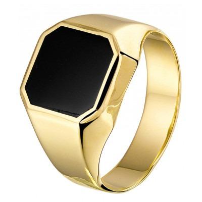 Elegante gouden zegelring met onyx