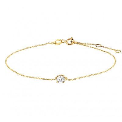 Fijne gouden armband met zirkonia