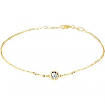 Gouden armband met ronde zirkonia