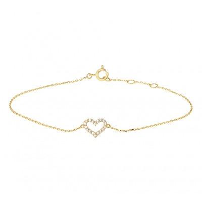 Gouden armband met zirkonia hartje