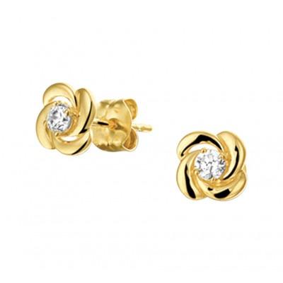 Gouden bloem oorbellen met zirkonia