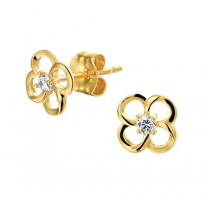 Gouden bloem oorknopjes met zirkonia