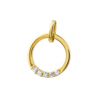 Gouden diamanten hanger met vijf diamanten