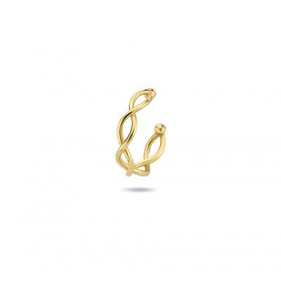 Gouden earcuff gevlochten