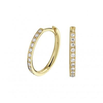 Gouden edelsteen oorbellen met diamant